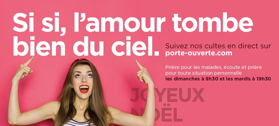 Campagne d'affichage : Si, si, l'amour tombe bien du ciel.